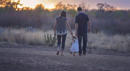 une famille en vacances